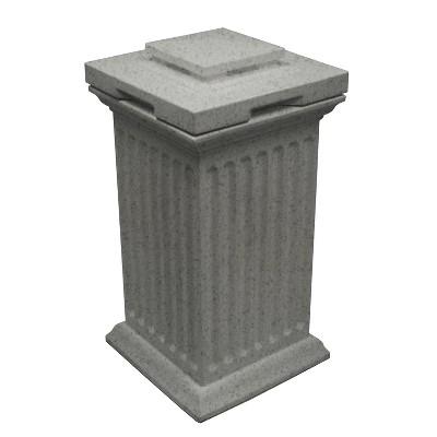 Good Ideas Savannah Outdoor Column 30 Gallon Polyethylene Storage and Waste Bin, Light Granite