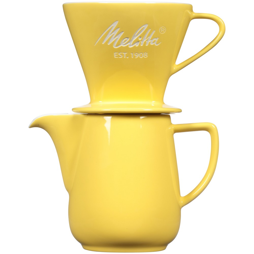 Melitta Porcelain Pour-Over Carafe Set with Cone Brewer and Carafe – Pastel Yellow 53919839