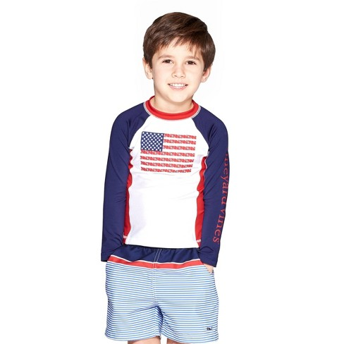 Toddler Boys' Whale Flag Graphic Rashguard - White - vineyard vines® for Target - image 1 of 4