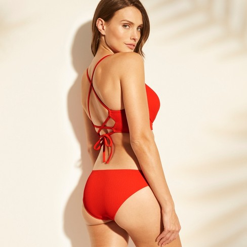 fccce99a879d3 Women s Dream Lightly Lined V Wire Ribbed Bikini Top - Shade   Shore™ Red    Target
