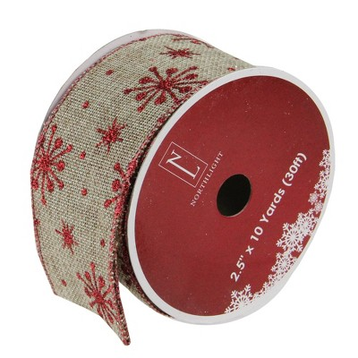 """Northlight Club Pack of 12 Red Snowflake and Beige Burlap Wired Christmas Craft Ribbon Spools - 2.5"""" x 10 Yards Total"""