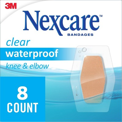 Nexcare Waterproof Bandages Knee and Elbow, Clear, 2 3/8 in x 3 1/2 in, 8 ct.