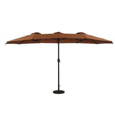 15' x 9' Eclipse Dual Market Patio Umbrella Coffee - Island Umbrella