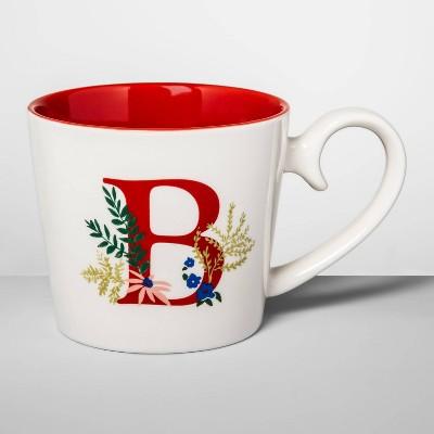 16oz Stoneware Monogram Mug Cream B - Opalhouse™