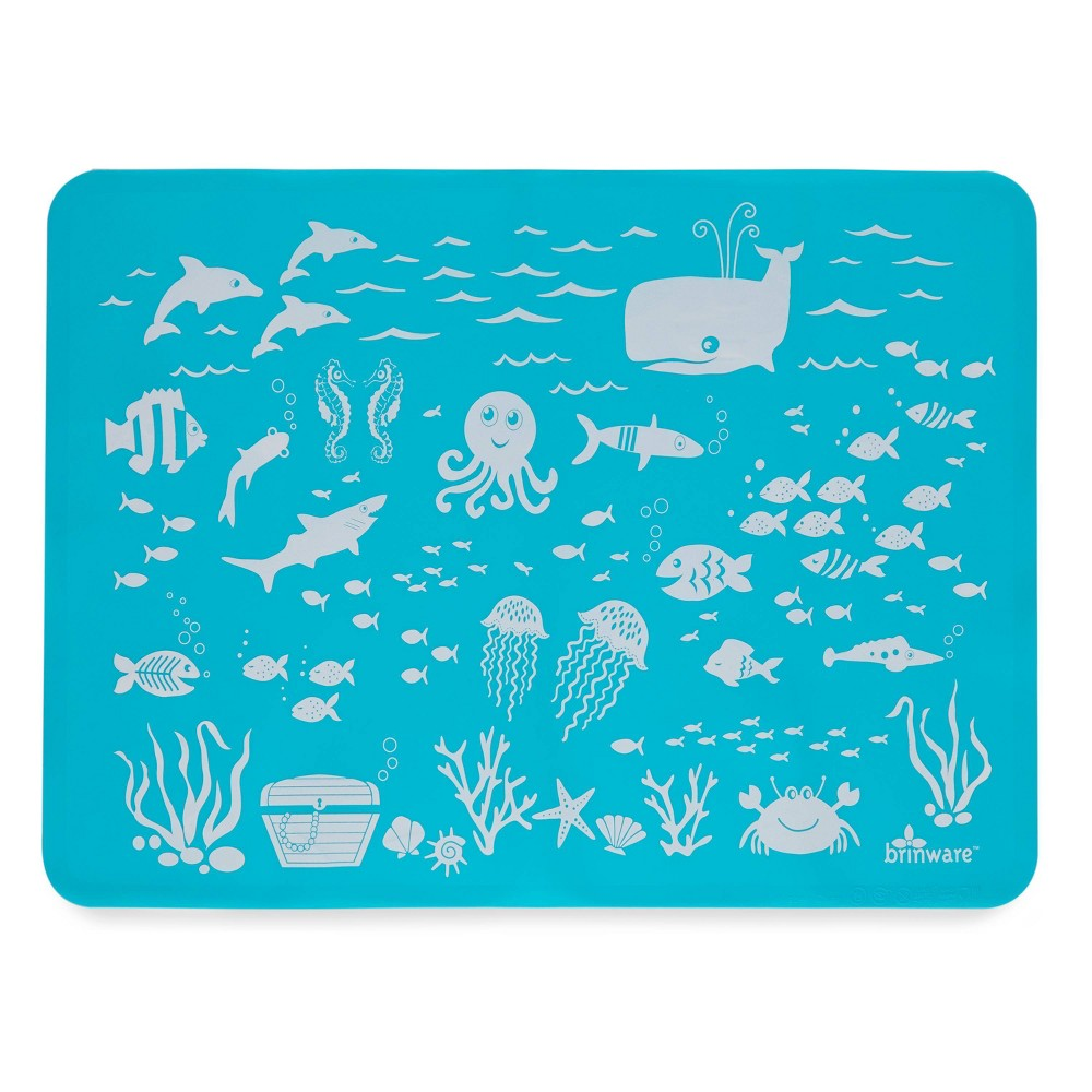 "Image of ""11"""" x 15"""" Silicone Under The Sea Placemat Blue - Brinware"""