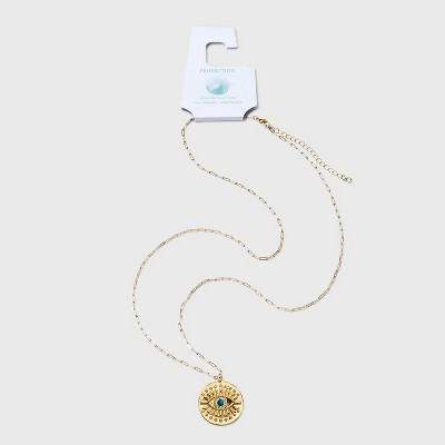 Evil Eye with Turquoise Bead Pendant Chain Necklace - Gold