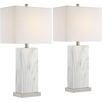 360 Lighting Modern Table Lamps Set of 2 with USB Charging Ports White Faux Marble Rectangular Shade Living Room Bedroom Bedside
