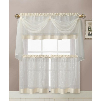 Kate Aurora Living Complete 4 Piece Linen Leaf Embroidered Complete Kitchen Curtain Set