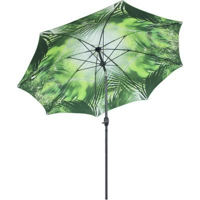 Sunnydaze Outdoor Aluminum Inside Out Patio Umbrella with Push Button Tilt and Crank - 8' - Green Tropical Leaf