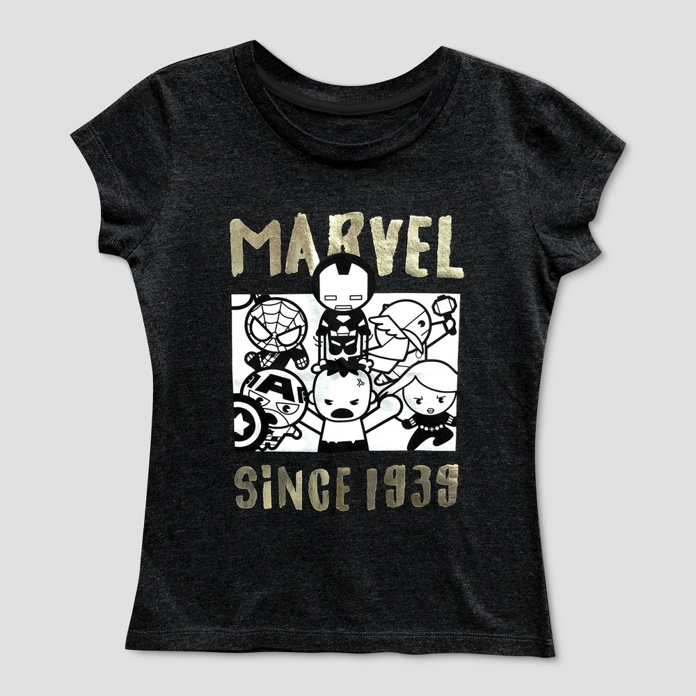 Girls' Marvel Short Sleeve T-Shirt - Charcoal Heather M, Gray