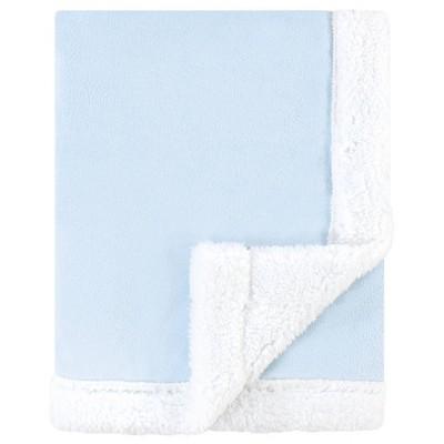 Hudson Baby Unisex Baby Plush Blanket with Sherpa Back - Light Blue White One Size