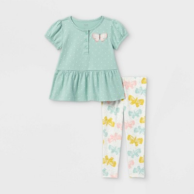 Toddler Girls' 2pc Butterfly Short Sleeve Top and Bottom Set - Just One You® made by carter's Teal