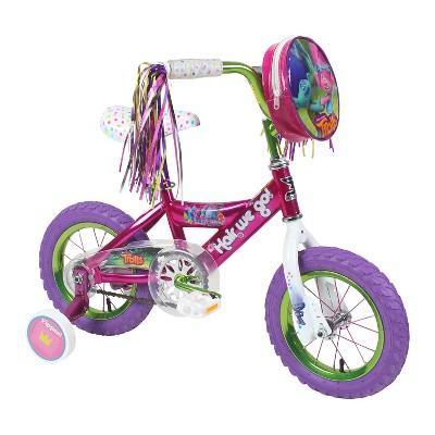 Dynacraft Children's Cute Trolls Themed Beginner BMX Street/Dirt Bike with Removable Training Wheels, 12-Inch
