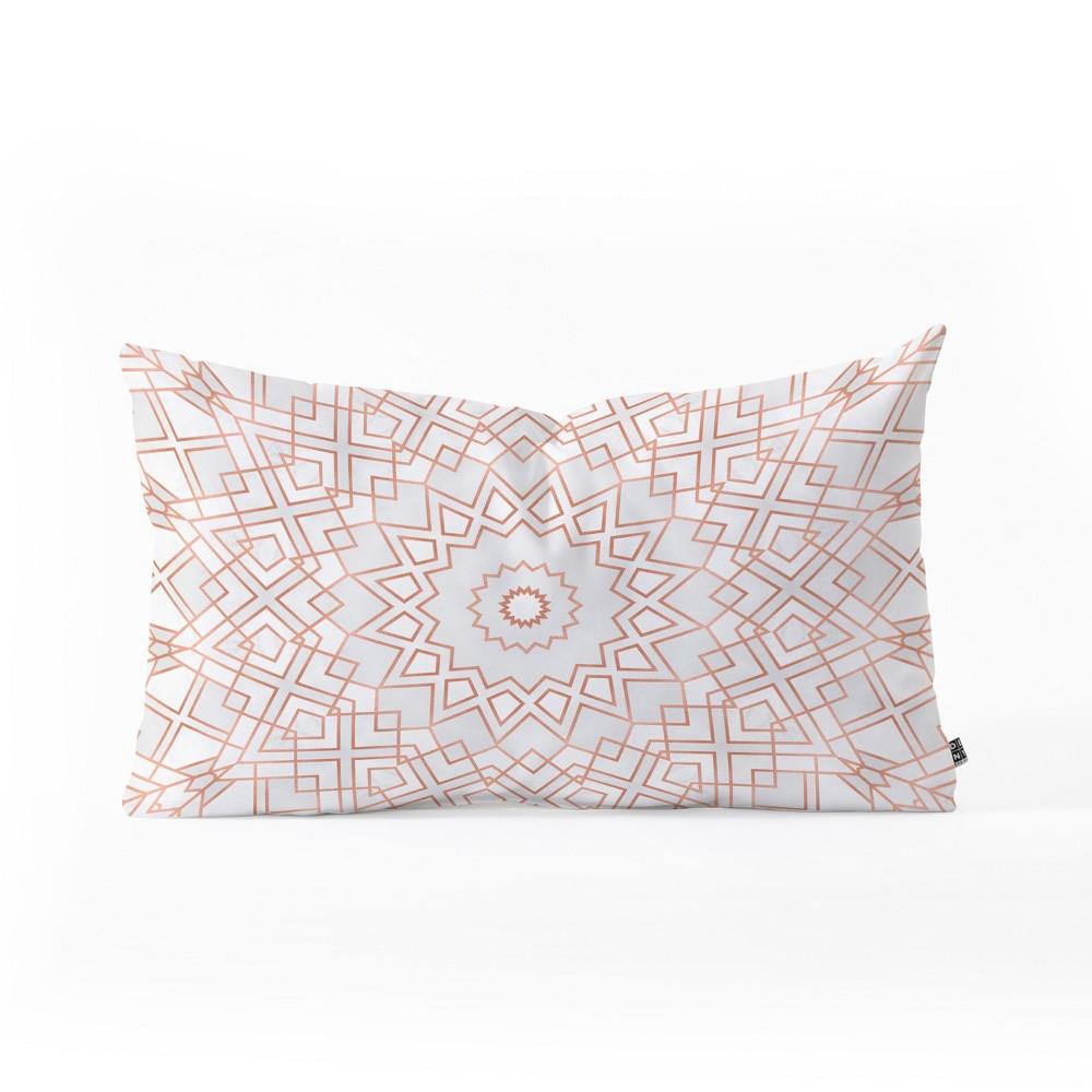 Elisabeth Fredriksson Rose Mandala Lumbar Throw Pillow Pink - Deny Designs