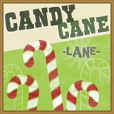 "16"" x 16"" Lets Get Jolly V Candy Cane by June Erica Vess Framed Canvas Wall Art - Amanti Art"