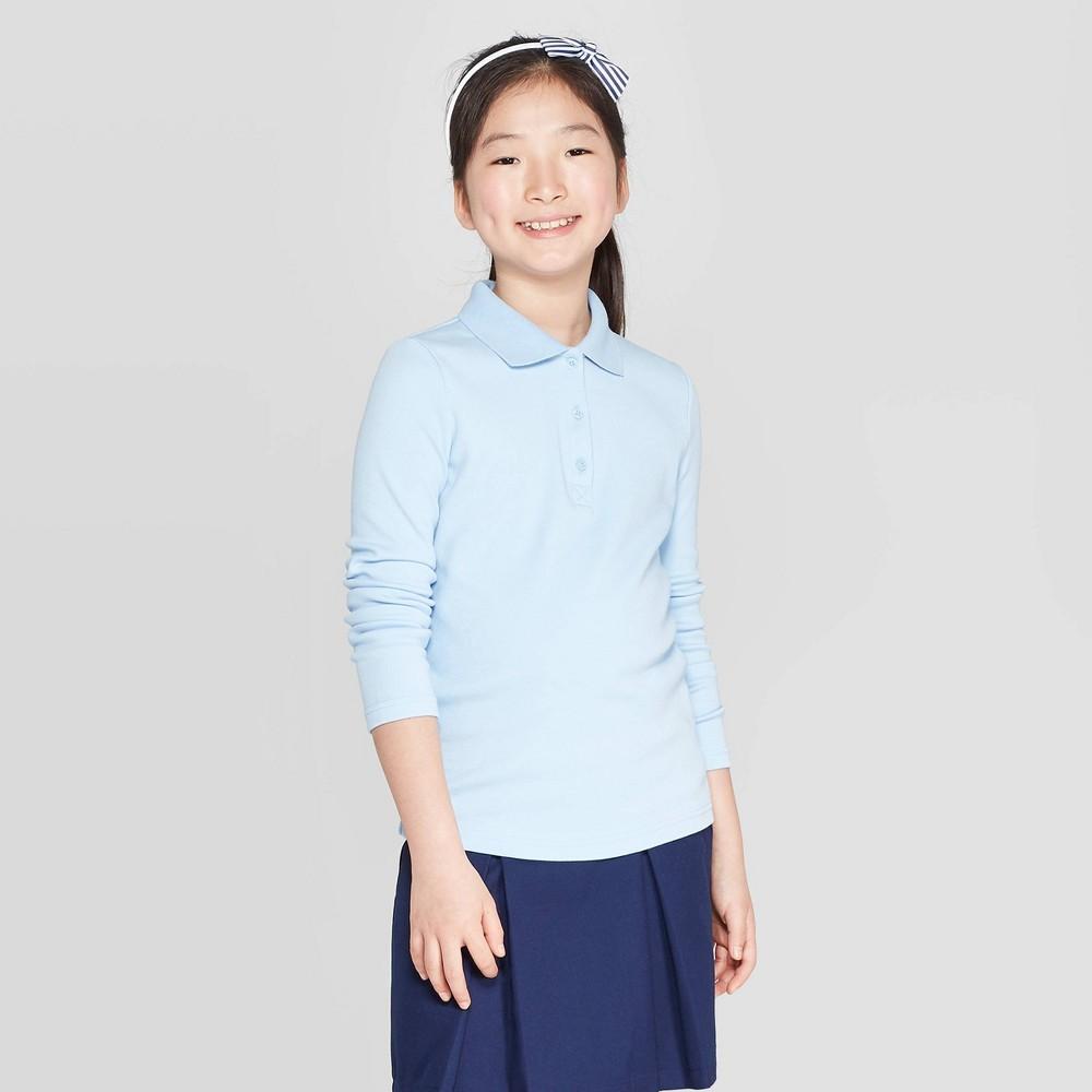 1a5d54702 Girls Long Sleeve Interlock Polo Shirt Cat Jack Light Blue XS