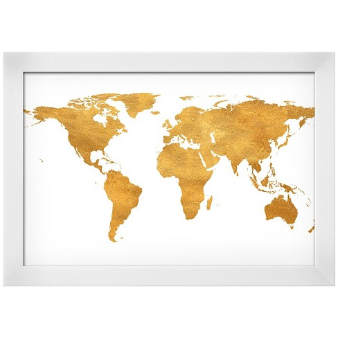 Gold Foil World Map Framed.Gold World Map Gold Foil White Wood Framed Art Print Target