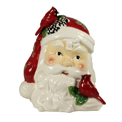 """Tabletop 12.0"""" Santa Head Container Christmas Red Bird Cardinal K & K Interiors  -  Food Storage Containers"""