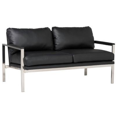 Lintel Leather Loveseat Chrome/Black - Studio Designs Home