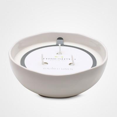 Washed Linen Scent Candle White Split Glaze - Threshold™