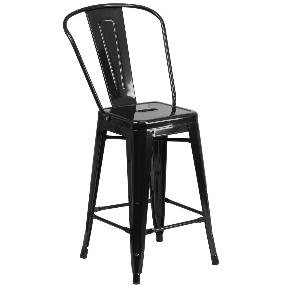 "Image of ""24.5"""" Riverstone Furniture Collection Metal Outdoor Stool Black"""