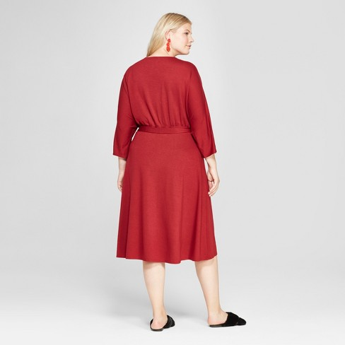 Womens Plus Size Knit Wrap Midi Dress A New Day Burgundy Target