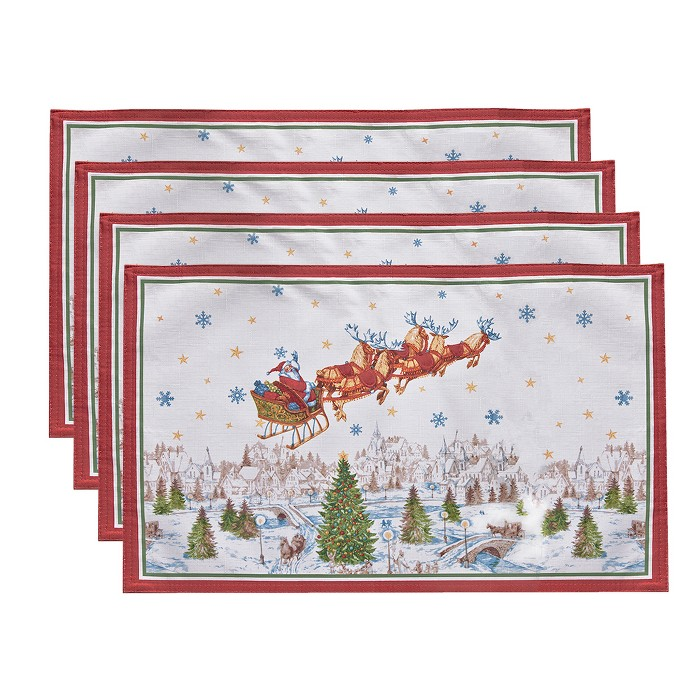 """Santa's Snowy Sleighride Placemat, Set Of 4 - 13"""" X 19"""" - Red/Green - Elrene Home Fashions : Target"""