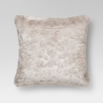 Light Gray Faux Fur Square Throw Pillow 18 x18  - Threshold™
