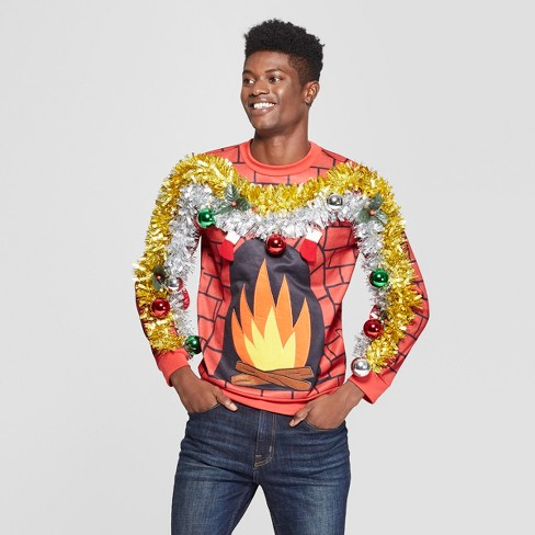 Mens Ugly Christmas Fire Felt Applique Sweatshirt Red Target