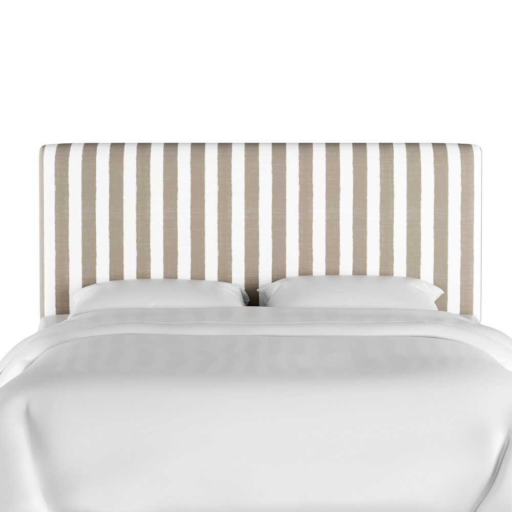Queen Olivia Upholstered Headboard Taupe/White Stripe (Brown/White Stripe) - Cloth & Co.