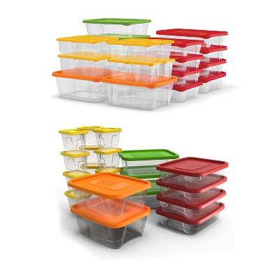 Plas Glas 102 Piece Stackable Plastic Food Storage Lunch Containers and Lids