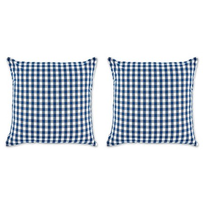 """2pk 20""""x20"""" Oversize Gingham Square Throw Pillows Navy/Off White - Design Imports"""