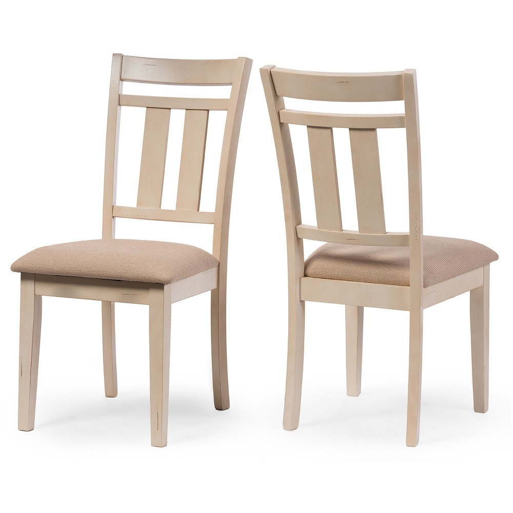 Set of 2 Roseberry Chic French Country Cottage Antique Oak Wood & Distressed White Dining Side Chairs Cream - Baxton Studio was $220.99 now $165.74 (25.0% off)