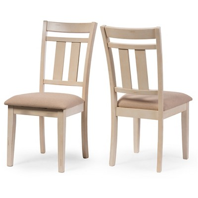 Roseberry Chic French Country Cottage Antique Oak Wood U0026 Distressed White  Dining Side Chairs (Set Of 2)   Cream   Baxton Studio