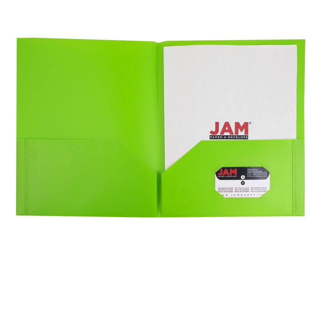 Jam Paper, Plastic Eco Folders, 6pk - Lime Green, New Lime