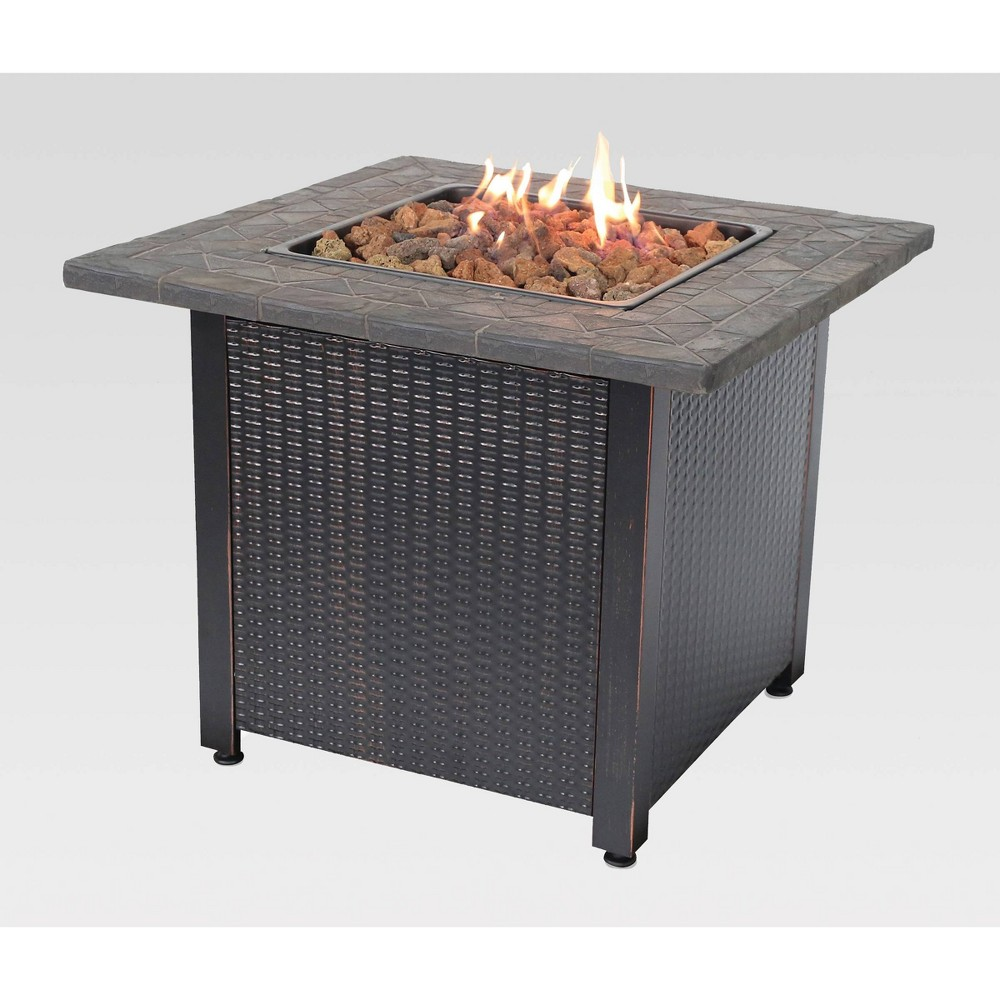 "Image of ""30"""" Outdoor Patio Gas Pit with Resin Tile Mantel - Endless Summer"""