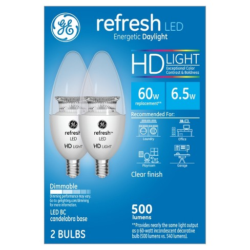General Electric 2pk 60W Refresh Daylight Hd Equivalent Deco Bc Blunt Tip Candelabra Base LED Light Bulb - image 1 of 3