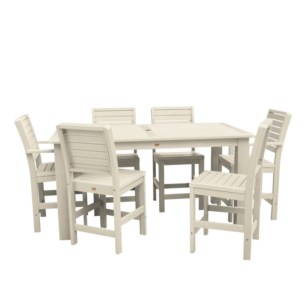 """Image of """"7pc Weatherly 72"""""""" Rectangular Counter Patio Dining Set Whitewash - highwood"""""""