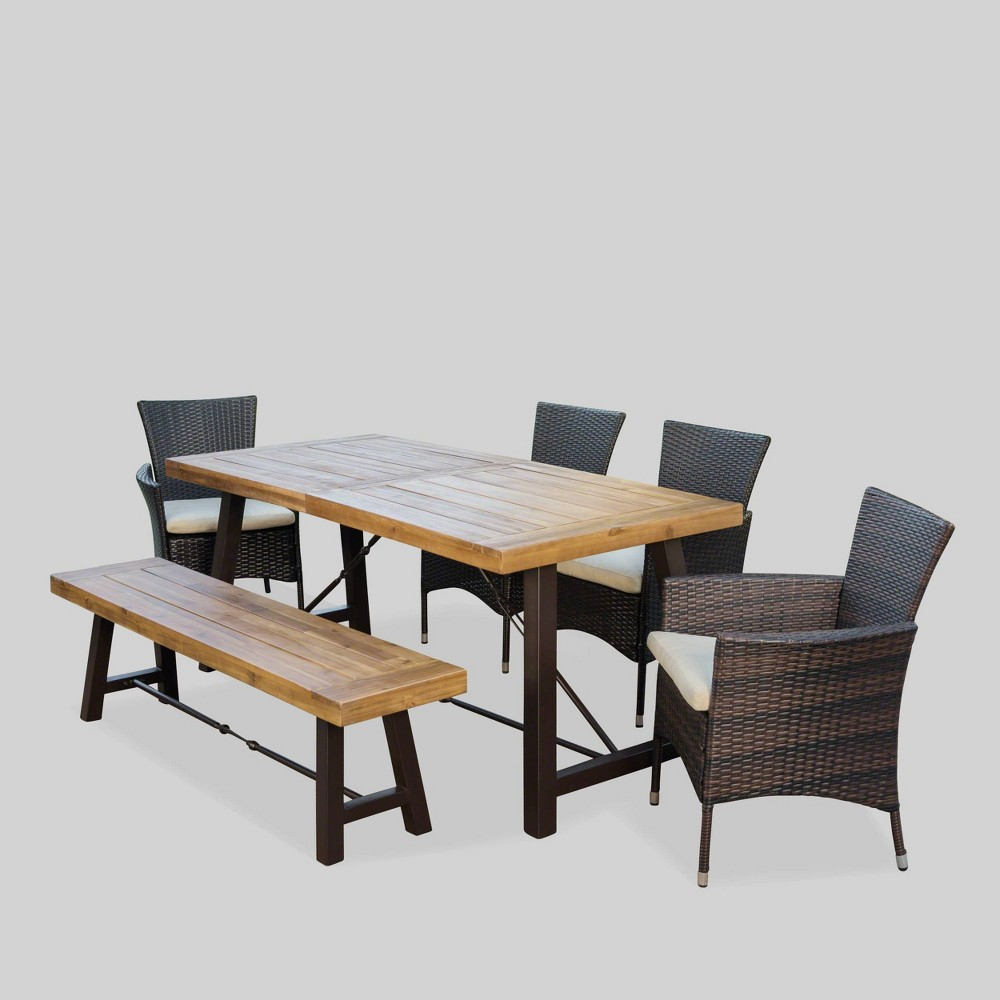 Prime Jennys 6Pc Acaciawicker Patio Dining Set Brown Christopher Short Links Chair Design For Home Short Linksinfo