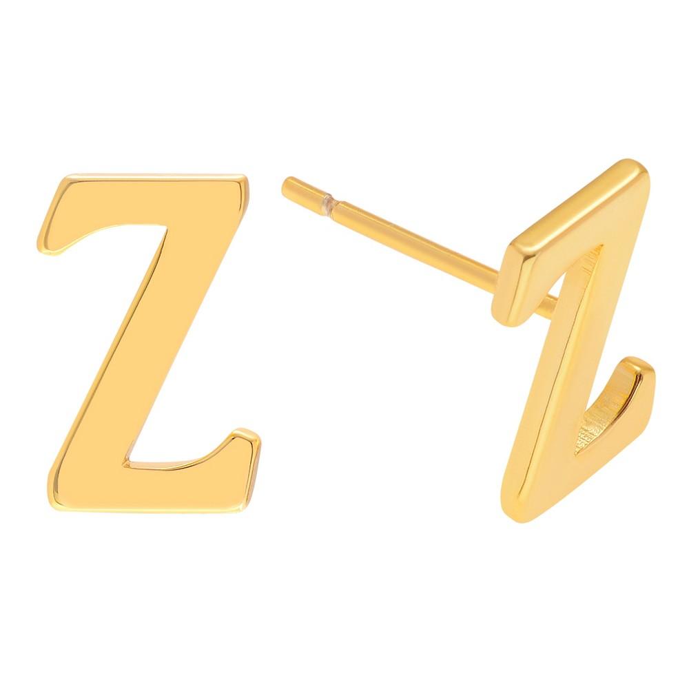 Women's Journee Collection Brass Initial Stud Earrings - Gold, Z, Gold Letter - Z