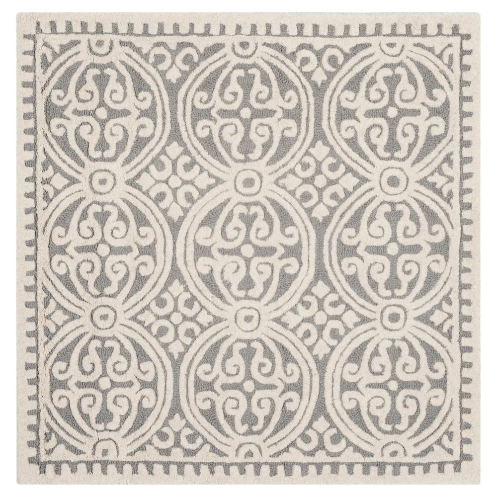 Geometric Area Rug Silver/Ivory