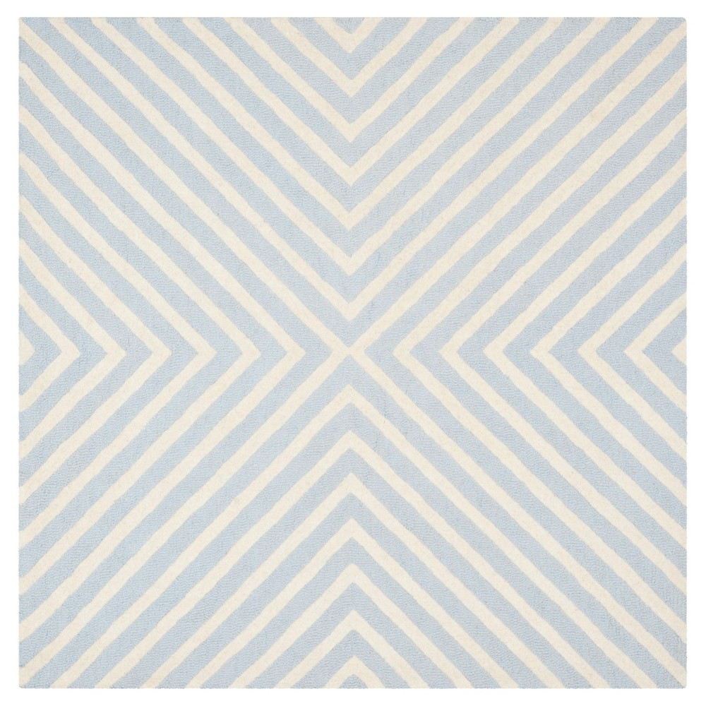 8'X8' Geometric Area Rug Light Blue/Ivory - Safavieh