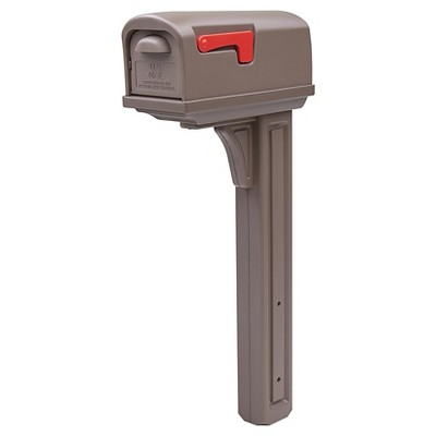 Gibraltar Classic Plastic Mailbox and Post Combo with Double Door - Mocha