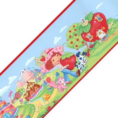 12ft Self Stick Wall Border Accent Roll - Strawberry Shortcake..