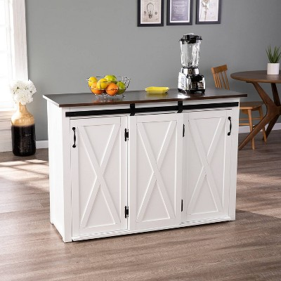 Lashire Barn Door Kitchen Island White - Aiden Lane