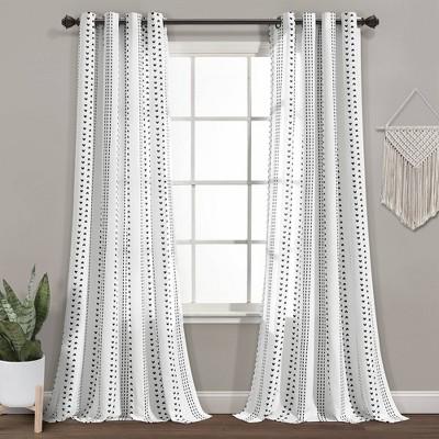 Set of 2 Hygge Striped Window Curtain Panels Black/White - Lush Décor