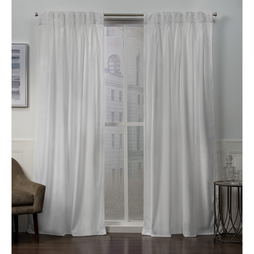 "Image of ""27""""x84"""" Velvet Heavyweight Pinch Pleat Top Curtain Panel Pair Winter White - Exclusive Home"""