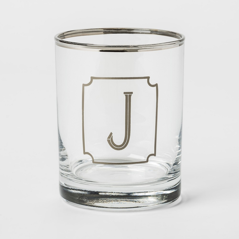 13.3oz Monogram Double Old-Fashioned Glass J - Threshold, Silver Clear