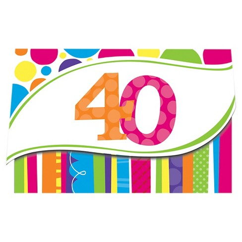 8ct Bright And Bold 40th Birthday Invitations - image 1 of 2