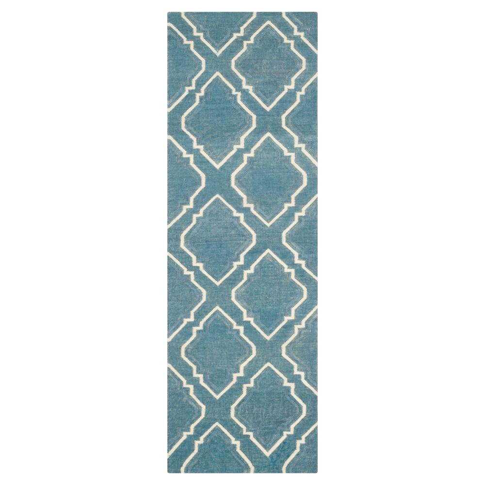 Cheap Dhurries Rug - Blue Ivory - (26x8) - Safavieh